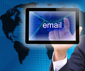 Businessman hand pressing email button on a touch screen interface — Stock Photo
