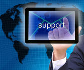 Businessman hand pressing support button on a touch screen interface — Stock Photo