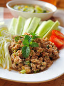Thai Spicy minced meat salad — Stock Photo