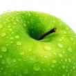 Green apple. Macro. — Stock fotografie
