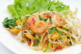 Thai food Pad thai , Stir fry noodles with shrimp — Stock Photo