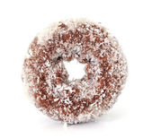 Coconut chocolate donut isolated on white — Stock Photo