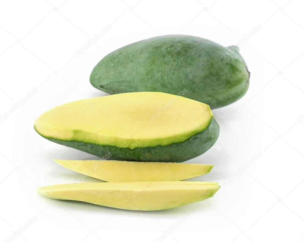 Green mango isolated on a white background — Stock Photo ...