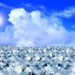 Ice cubes in blue sky — 图库照片
