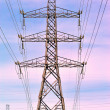 Stock Photo: Electricity pylons at sunset