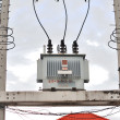 Stock Photo: Transformer on high power station. High voltage