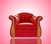 Sofá de couro vermelho velho — Fotografia Stock