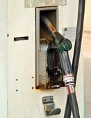 Fuel oil gasoline dispenser at petrol filling station — Stock Photo