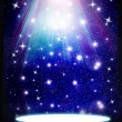 Stars are falling on the background of blue luminous rays. — Stock Photo #28555761
