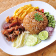 Fry rice with the shrimp paste, Thai food — Stock Photo
