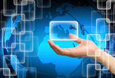 Hand holding on technology background — Stock Photo