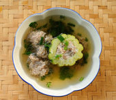 Bitter Gourd Soup with Pork in a Bowl — Stock Photo