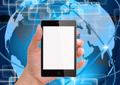 Hålla smart mobiltelefon med världen teknik bakgrund — Stockfoto
