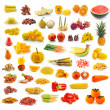 Fruits, vegetables, yellow and red. With beta carotene. — Stock Photo