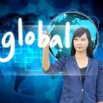 Businesswoman hand writing global — Stock Photo #28587249