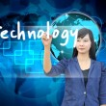 Businesswoman hand writing technology — Stock Photo #28587289