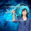 Businesswoman hand writing sign — Stock Photo #28587947