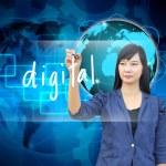Businesswoman hand writing digital — Stock Photo #28588103