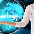 Stock Photo: Holding technology in his hand , creative concept