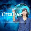 Stock Photo: Businesswoman hand writing creative
