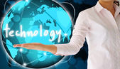 Holding technology in his hand , creative concept — Stock Photo
