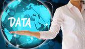 Holding data in hand,creative concept — Stock Photo