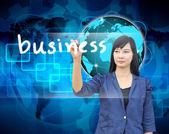επιχειρηματίας χέρι γράφοντας επιχειρήσεων — Φωτογραφία Αρχείου