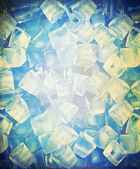 Background with ice cubes in old paper — Stock Photo