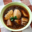 Braised Pork Belly With Egg And Tofu — Stock Photo