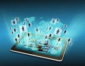 Televisión e internet producción .technology y negocios conc — Foto de Stock