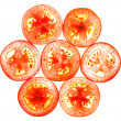 Tomato slice isolated on white — Stock Photo