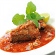 Spicy Sardines in tomato sauce canned fish ,Yum thai food style — Stock Photo