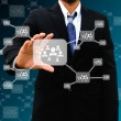 Businessman holding icon of social network — Stock Photo