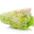 Green Iceberg lettuce on White Background — Stock Photo