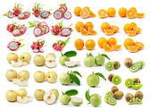 Orange, kiwi, guava, pear,dragon fruit — Foto Stock