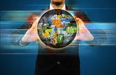 Businessman holding world  social network — Zdjęcie stockowe