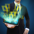Businessman holding tablet technology business concept — Stock Photo