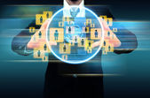 Businessman works with Social Network — Stock Photo