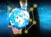 Businessman holding social network — Zdjęcie stockowe