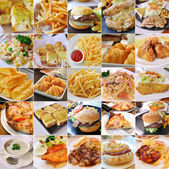 Colagem de produtos de fast-food — Fotografia Stock