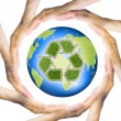 Hands making a circle Surrounding the recycle Earth — Stock Photo #45217953