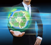 Businessman holding world Recycle  — Stock Photo