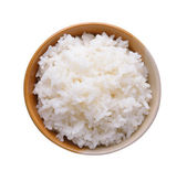 Rice in a bowl isolated on a white background — Stock Photo