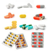 Pills and capsules isolated on white background — Stock Photo