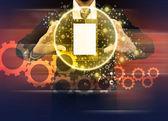 Businessman holding world technology mobile phone — Zdjęcie stockowe