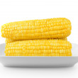 Corn on the white plate isolated on white background — Stock Photo #48438229
