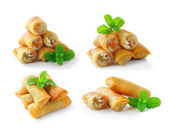 Fried Chinese Traditional Spring rolls food isolated on white ba — Stock Photo