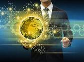 Zakenman bedrijf smartphone wereld technologie en social media — Stockfoto