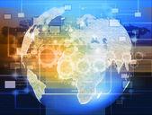 Globe avec les pointeurs, les signaux et les icônes de réseautage social, sociales — Photo