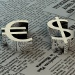 Euro and dollar signs on paper — Stock Photo